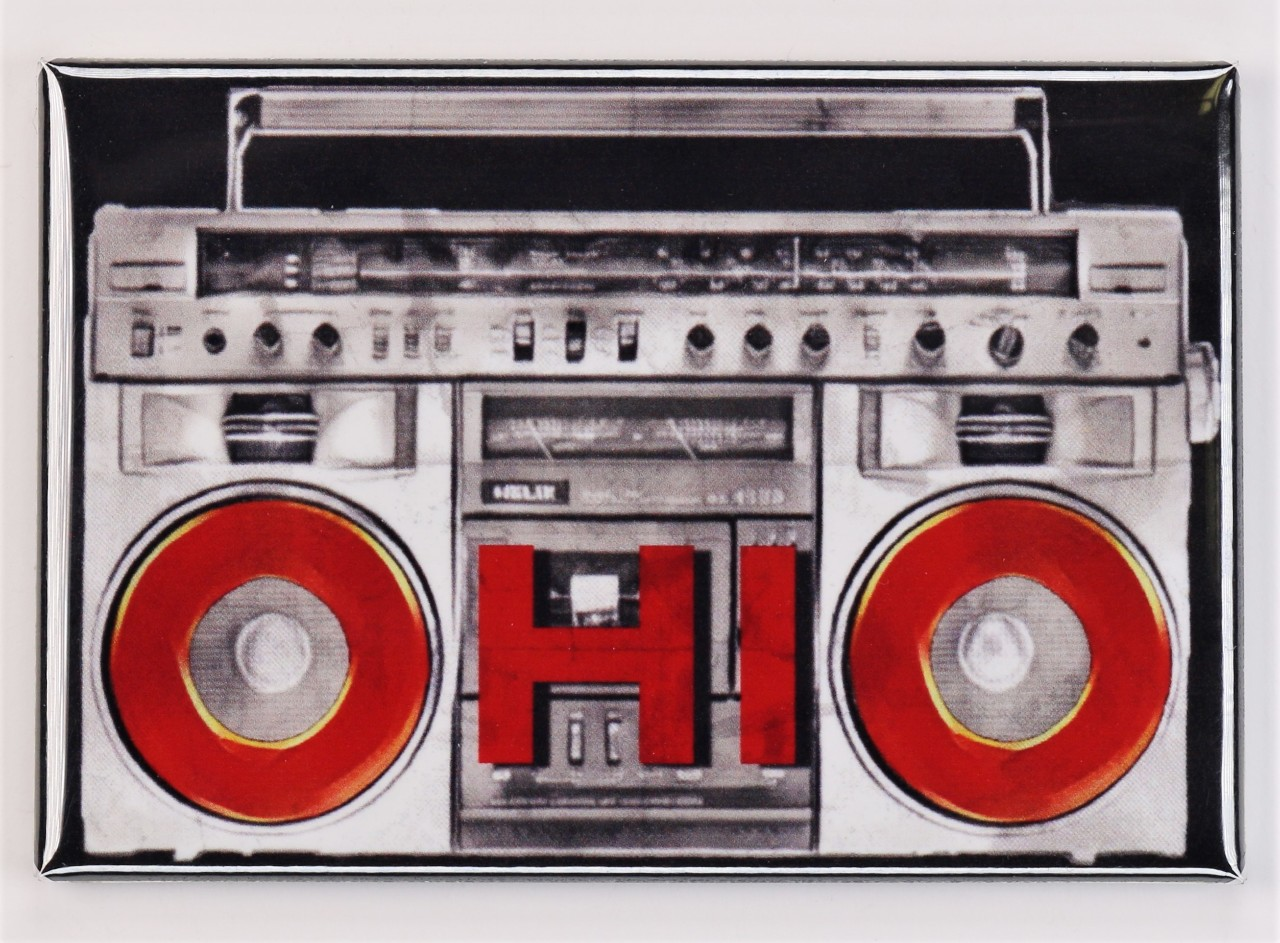 Ohio Boombox FRIDGE MAGNET OSU Columbus Cincinnati Cleveland Toledo Dayton Reds Radio Ohio State