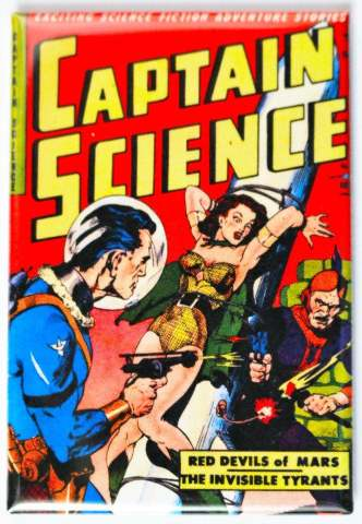 Captain Science Comic Book FRIDGE MAGNET Sci Fi Pulp Fiction Space Pin Up Girl