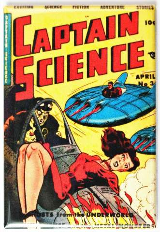 Captain Science Comic Book FRIDGE MAGNET Sci Fi Pin Up Girl  Space Saucer Issue 3