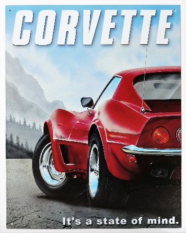Chevy Corvette Its a State of Mind Tin Metal Sign ...