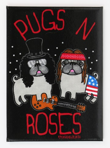 Pugs N Roses Fridge Magnet Pug Dog Humor Funny Guns N