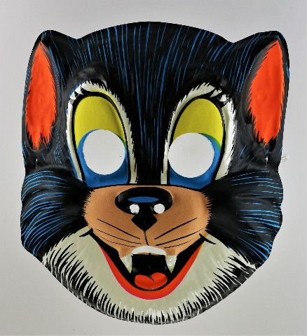 Vintage Black Cat Halloween Mask Smiling Kitten Cartoon Fang Y217