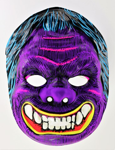 Vintage Purple Monster Halloween Mask Neon 1980's Gorilla Ape Y210