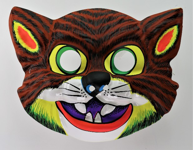 Vintage Scary Cat Halloween Mask Feline Angry Cats 1980's Y204