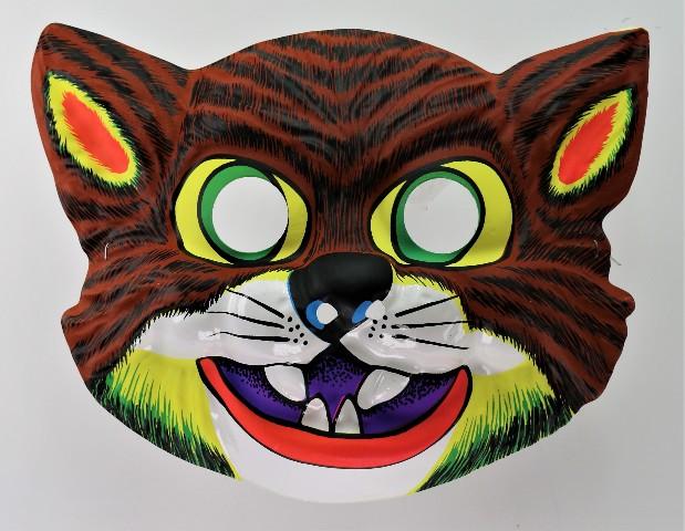 Vintage Scary Cat Halloween Mask Feline Cats 1980's Y204