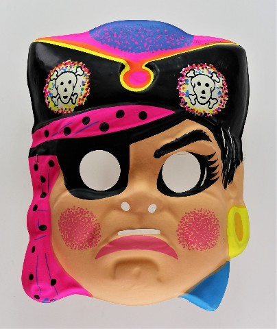 Vintage Girl Pirate Halloween Mask Neon Hot Pink Pirates Ship Y199