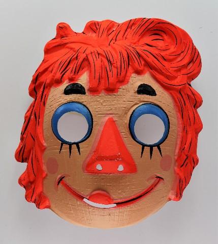 Vintage Raggedy Ann Doll Halloween Mask 1970s Collegeville Ben Cooper Y198