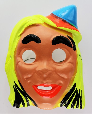 Vintage Blonde Gypsy Witch Halloween Mask 1960s Safety Glow Safety-Glow Y197