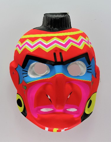 Vintage Red Indian Halloween Mask Aboriginal Native American Neon Y191