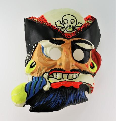 Vintage Ben Cooper Pirate Halloween Mask Black Beard Skull and Bones Y172