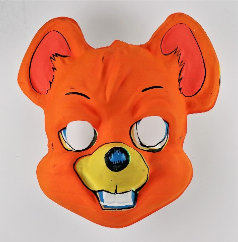 Vintage Orange Mouse Halloween Mask 1960s 1970s Ben Cooper Topstone Collegeville Y279