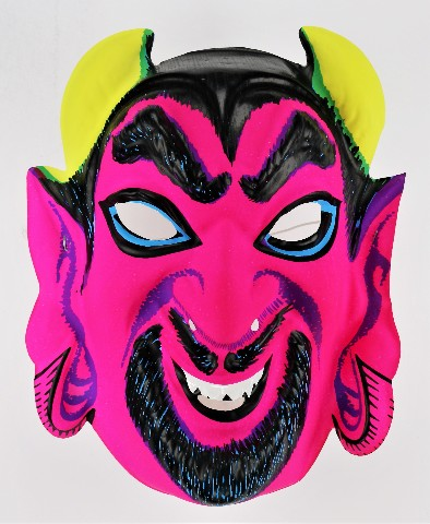 Vintage Neon Devil Halloween Mask Monster Costume 1970's Y107
