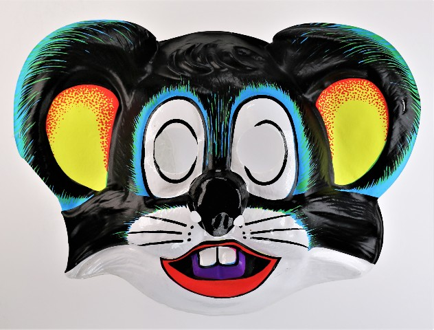 Vintage Cartoon Black Mouse Halloween Mask Rat 1980s Y259