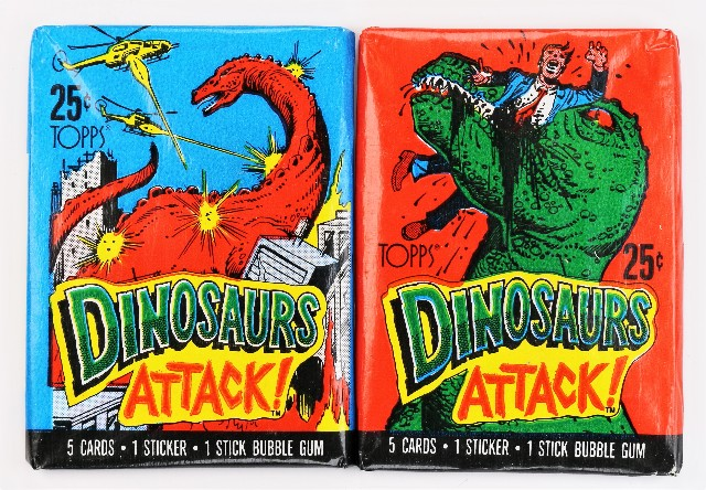 Vintage 1988 Topps Dinosaurs Attack Trading Cards 2 PACKS Wax Pack T-Rex Jurassic Park