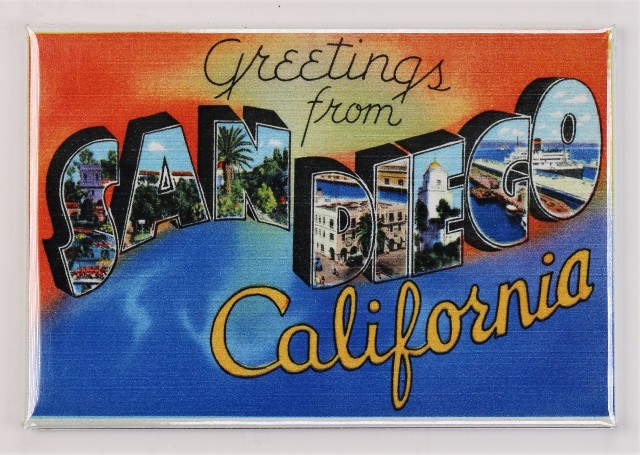 Greetings From San Diego California Postcard FRIDGE MAGNET Padres Chargers H1