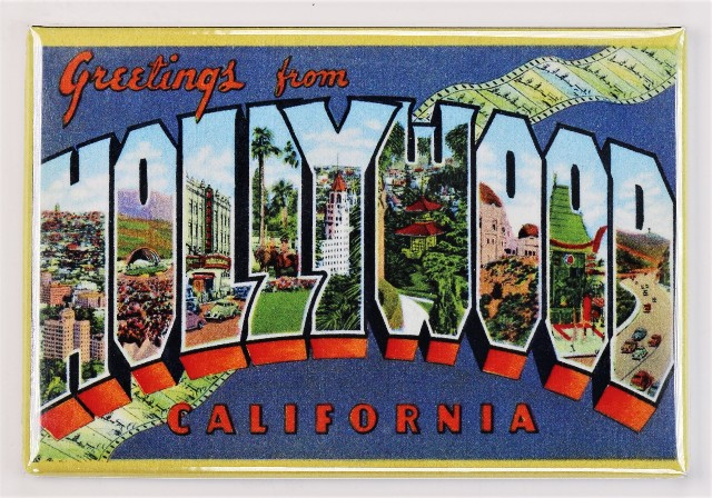 Greetings From Hollywood California Postcard FRIDGE MAGNET