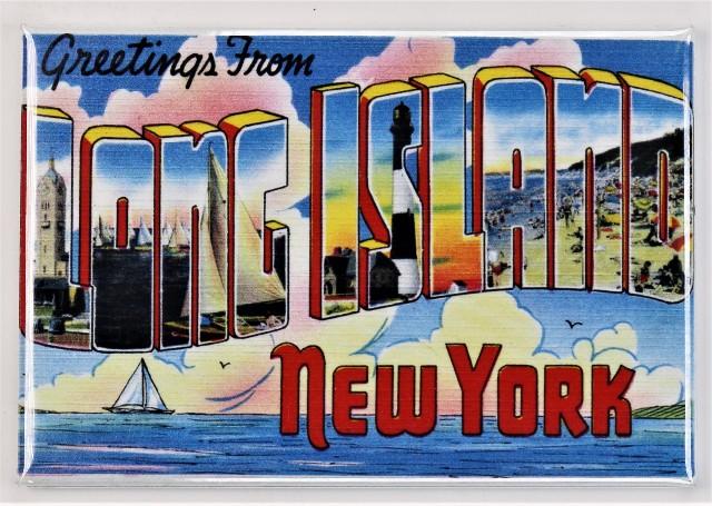 Greetings From Long Island New York Postcard FRIDGE MAGNET