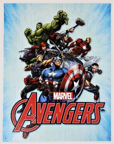 Marvel Avengers Tin Metal Sign Spiderman Thor Hulk Iron ...