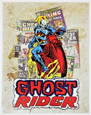 Marvel Comics Ghost Rider Tin Metal Sign Johnny Blaze Skull Punisher Spiderman D103