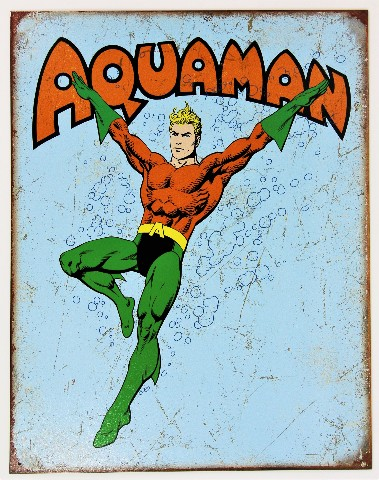 Vintage Style DC Comics Justice League Aquaman Tin Metal Sign D104