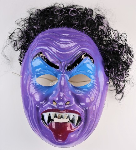 Vintage Purple Vampire Dracula Monster Halloween Mask Vampiro 1980 Ben Cooper