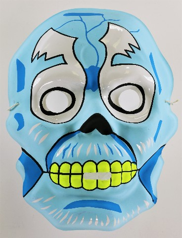 Vintage Topstone Blue Skeleton Skull Halloween Mask 80's Monster Mask