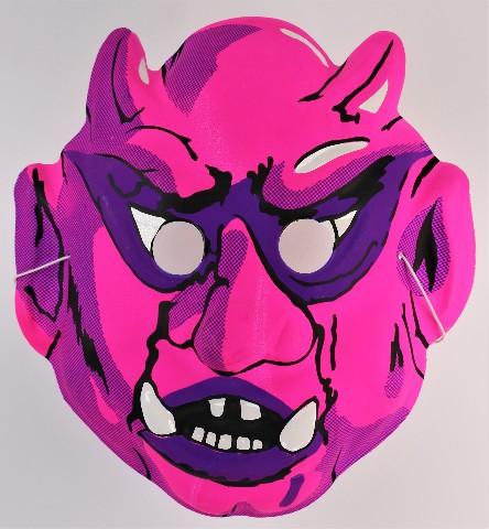 Vintage Hot Pink Demon Devil Halloween Mask 80's 90's Monster