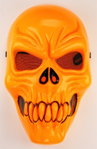 Vintage Neon Orange Skull Halloween Mask Skeleton
