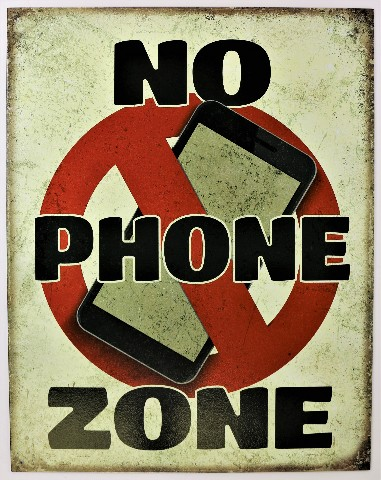 No Phone Zone Tin Metal Sign House Rules Business Work