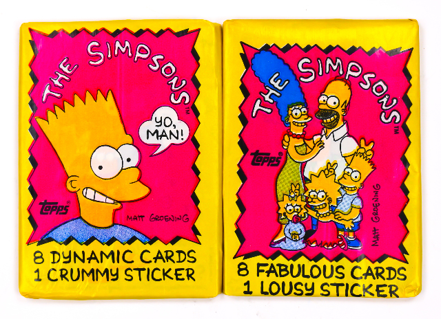 The Simpsons Vintage Trading Cards TWO Wax Packs 1990 Topps Homer Bart 90's 80's