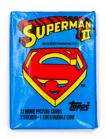 Superman 2 Vintage Trading Cards ONE Wax Pack 1980 Topps DC Comics Superhero