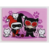 Harley Quinn and Catwoman Chibi FRIDGE MAGNET Batman Cats DC Comics H26