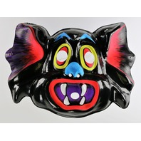 Vintage Vampire Bat Halloween Mask Black 1980's Horror Dracula Y212