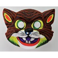 Vintage Scary Cat Halloween Mask Feline Cats 1980's