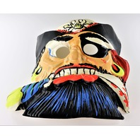 Vintage Ben Cooper Pirate Halloween Mask Black Beard Skull and Bones