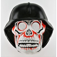Vintage Collegeville Skull and Helmet Halloween Mask 1970s German Kaiser Helmet Skeleton