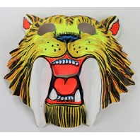 Vintage Saber Tooth Tiger Halloween Mask Ben Cooper Collegeville Toppstone Dinosaur 1980s Y104