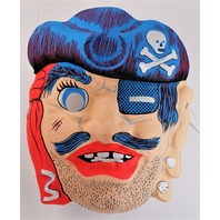 Vintage Pirate Halloween Mask Topstone Black Light Reactive 1980's 80's Y55