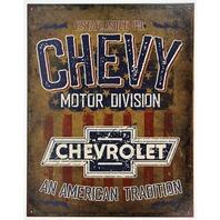 Chevy Motor Division Tin Metal Sign Camaro Chevrolet Silverado Corvette Nova Chevelle Impala D60