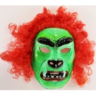 Vintage Ben Cooper Hairy Scary Mask Green Beast Monster Halloween Mask 1980