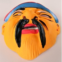 Vintage Chinese Man Halloween Mask 1960s Ben Cooper Collegeville Topstone
