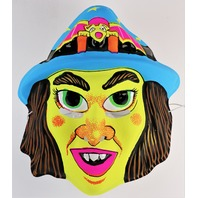 Vintage Witch Halloween Mask 1970s 1980s Green Witch Topstone Collegeville Y184