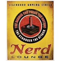 Legendary Gaming Center Nerd Lounge Tin Metal Sign Atari Nintendo NES Arcade XBox Playstation