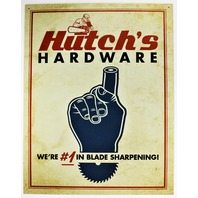 Hutch's Hardware Shop #1 In Blade Sharpening Tin Metal Sign Garage Wood Working Construction