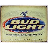 Bud Light Tin Metal Sign Bar Alcohol Budweiser Anheuser Busch
