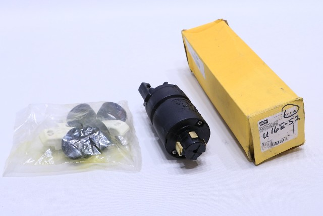 * NEW HUBBELL HBL21415B PLUG 30A 600VAC OR 20A 250VDC 3 POLE 4 WIRE GROUND