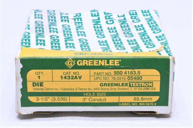"""* NEW GREENLEE 1432AV 3"""" CONDUIT KNOCKOUT DIE P/N 5004183.5"""