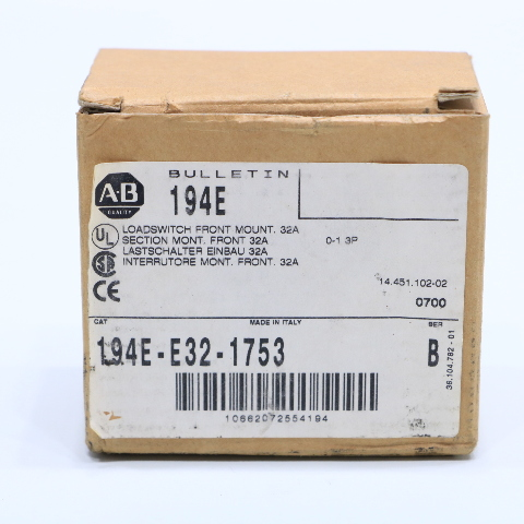 NEW ALLEN BRADLEY 194E-E32-1753 DISCONNECT SWITCH ON/OFF