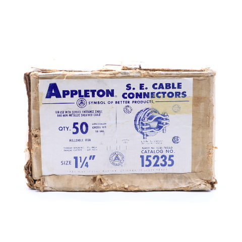 """* NEW QTY. (50) APPLETON 15235 1-1/4"""" SHEATHED SEC CONNECTOR"""