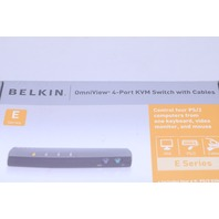 NEW BELKIN OMNIVIEW 4 PORT KMV SWITCH W/ CABLES